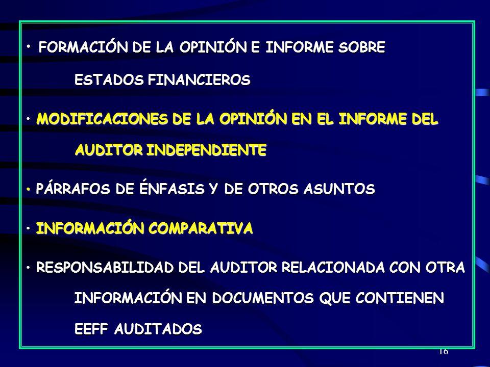 FORMACIÓN DE LA OPINIÓN E INFORME SOBRE ESTADOS FINANCIEROS