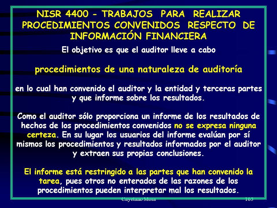 procedimientos de una naturaleza de auditoría