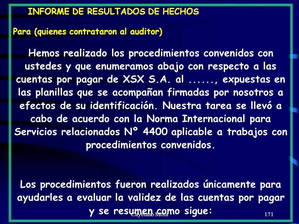 INFORME DE RESULTADOS DE HECHOS