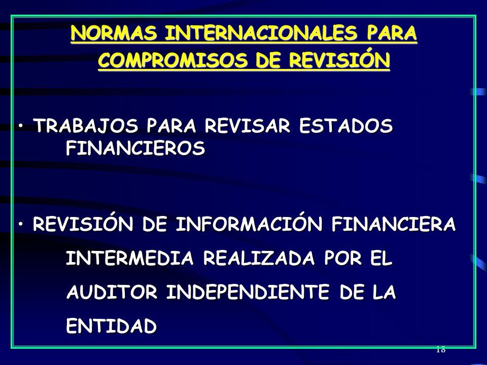 NORMAS INTERNACIONALES PARA COMPROMISOS DE REVISIÓN
