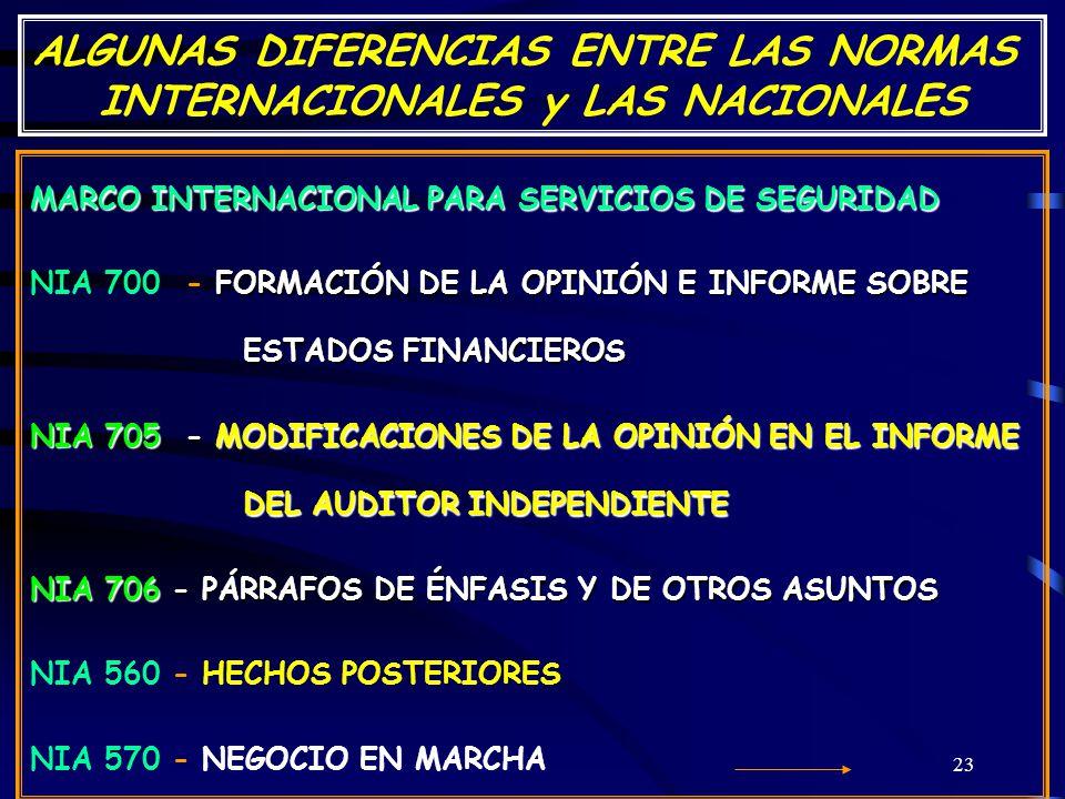 ALGUNAS DIFERENCIAS ENTRE LAS NORMAS INTERNACIONALES y LAS NACIONALES
