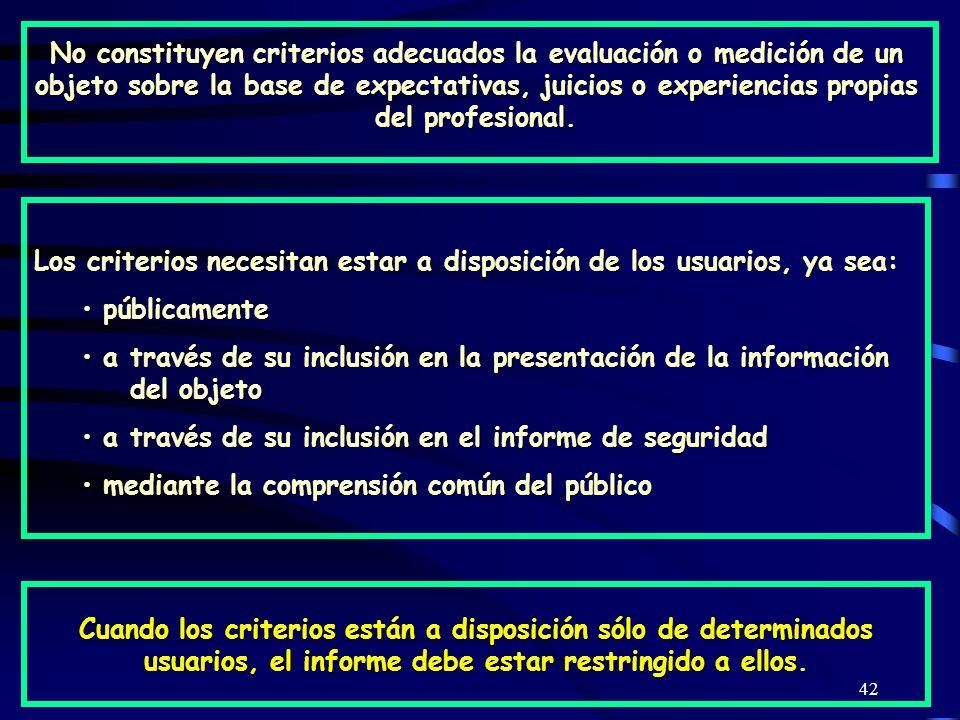 No constituyen criterios adecuados la evaluación o medición de un objeto sobre la base de expectativas, juicios o experiencias propias del profesional.
