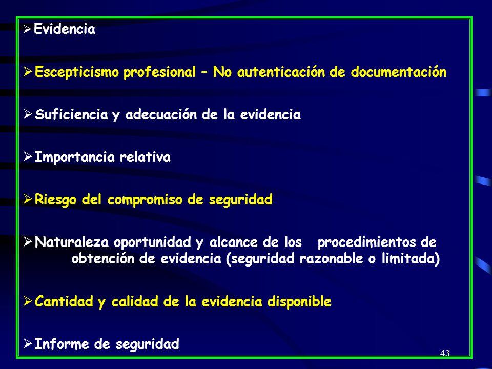 Escepticismo profesional – No autenticación de documentación