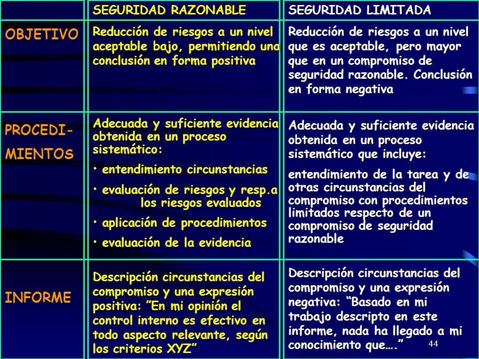 OBJETIVO PROCEDI- MIENTOS INFORME SEGURIDAD RAZONABLE
