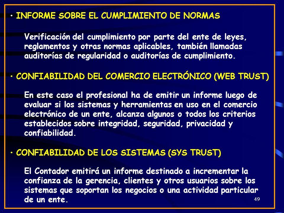 INFORME SOBRE EL CUMPLIMIENTO DE NORMAS