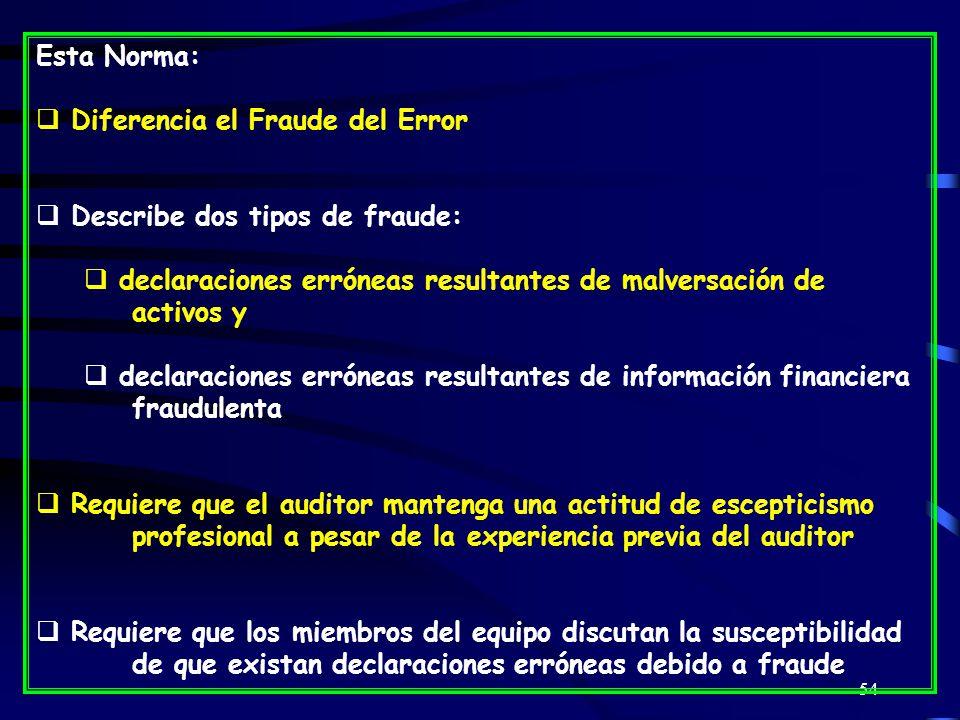 Esta Norma: Diferencia el Fraude del Error. Describe dos tipos de fraude: declaraciones erróneas resultantes de malversación de activos y.