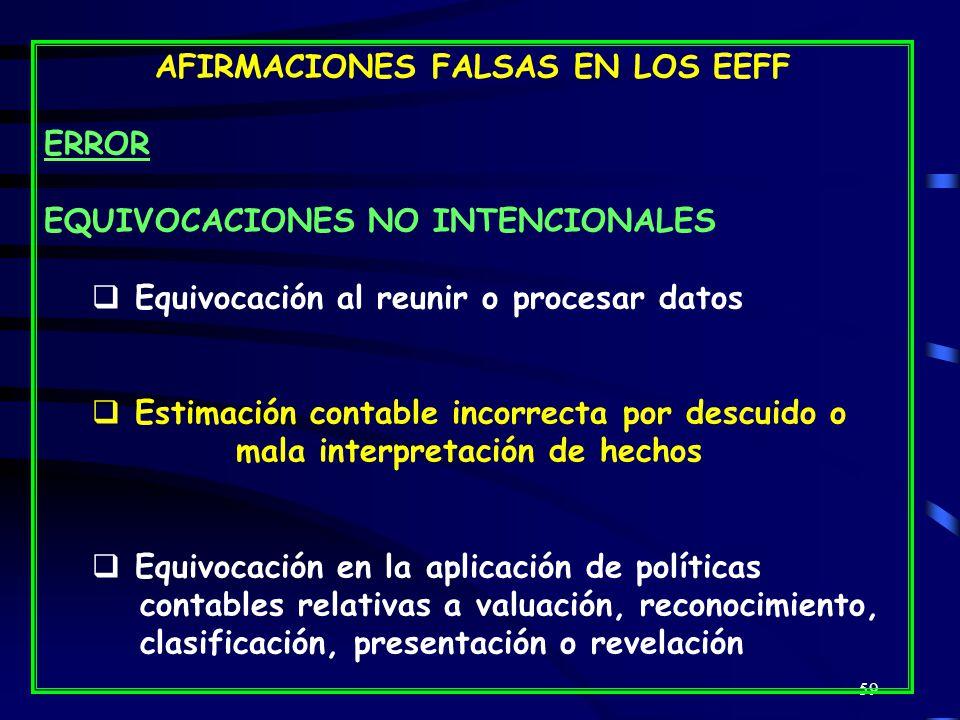 AFIRMACIONES FALSAS EN LOS EEFF