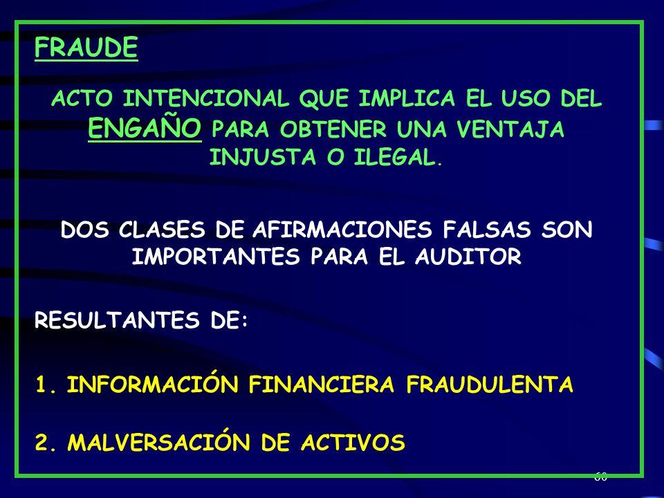 DOS CLASES DE AFIRMACIONES FALSAS SON IMPORTANTES PARA EL AUDITOR