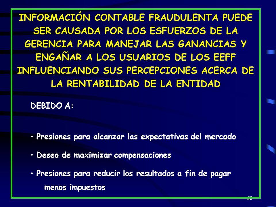 INFORMACIÓN CONTABLE FRAUDULENTA PUEDE SER CAUSADA POR LOS ESFUERZOS DE LA GERENCIA PARA MANEJAR LAS GANANCIAS Y ENGAÑAR A LOS USUARIOS DE LOS EEFF INFLUENCIANDO SUS PERCEPCIONES ACERCA DE LA RENTABILIDAD DE LA ENTIDAD