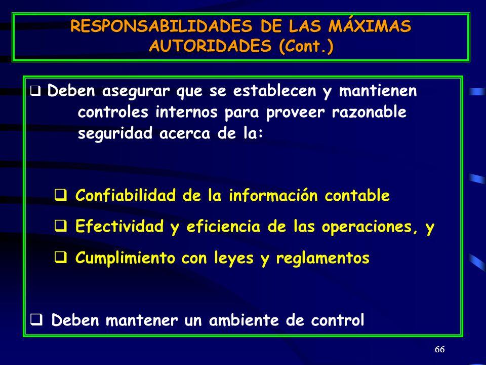 RESPONSABILIDADES DE LAS MÁXIMAS AUTORIDADES (Cont.)