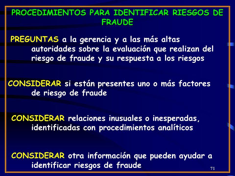 PROCEDIMIENTOS PARA IDENTIFICAR RIESGOS DE FRAUDE