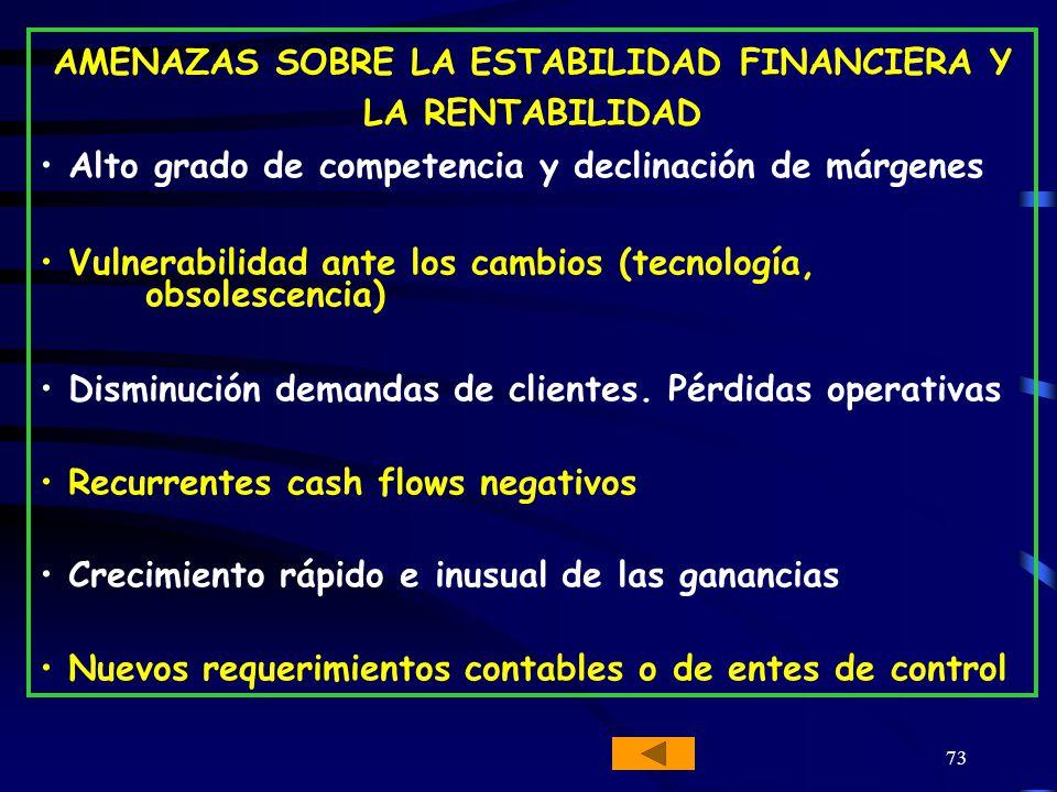 AMENAZAS SOBRE LA ESTABILIDAD FINANCIERA Y LA RENTABILIDAD