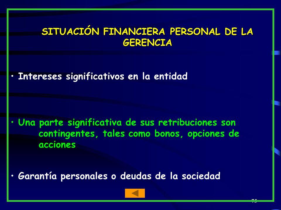 SITUACIÓN FINANCIERA PERSONAL DE LA GERENCIA