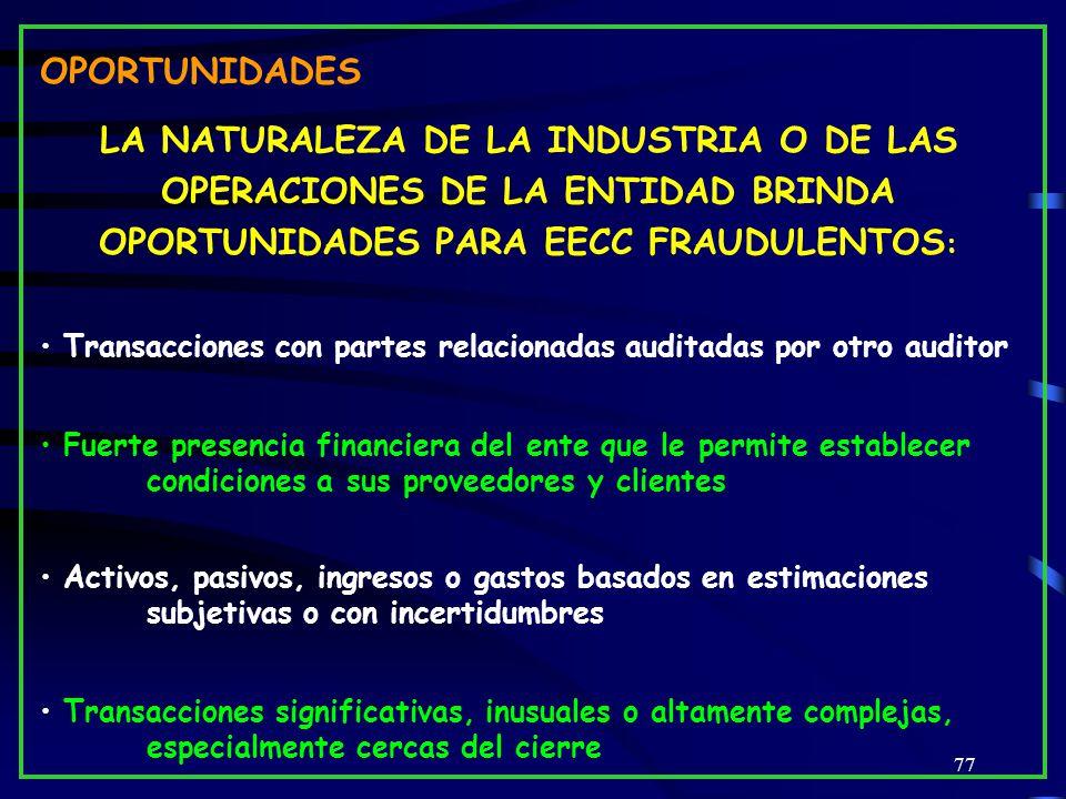 OPORTUNIDADES LA NATURALEZA DE LA INDUSTRIA O DE LAS OPERACIONES DE LA ENTIDAD BRINDA OPORTUNIDADES PARA EECC FRAUDULENTOS: