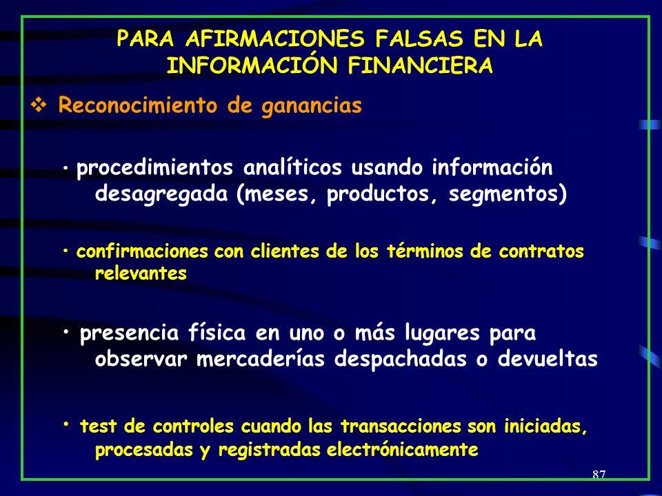 PARA AFIRMACIONES FALSAS EN LA INFORMACIÓN FINANCIERA
