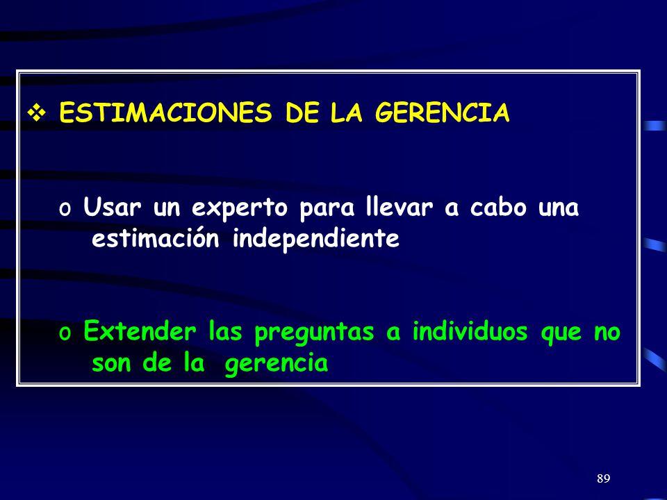 ESTIMACIONES DE LA GERENCIA