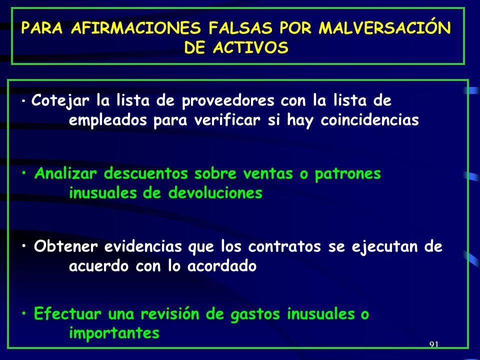 PARA AFIRMACIONES FALSAS POR MALVERSACIÓN DE ACTIVOS