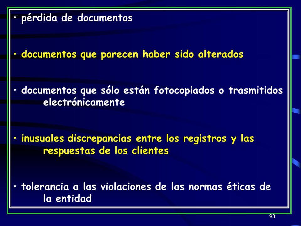 pérdida de documentos documentos que parecen haber sido alterados. documentos que sólo están fotocopiados o trasmitidos electrónicamente.