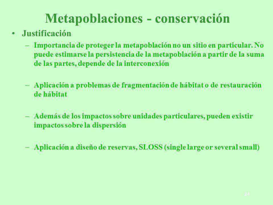 Metapoblaciones - conservación