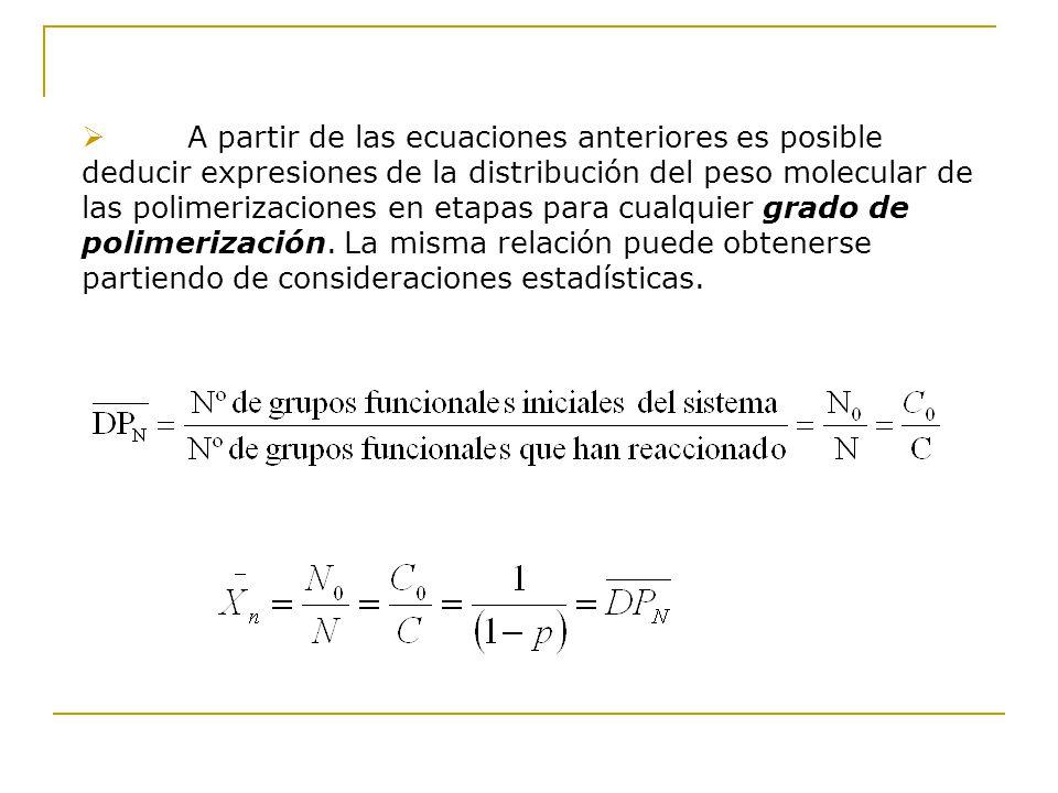 A partir de las ecuaciones anteriores es posible deducir expresiones de la distribución del peso molecular de las polimerizaciones en etapas para cualquier grado de polimerización.