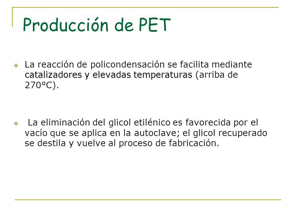 Producción de PET La reacción de policondensación se facilita mediante catalizadores y elevadas temperaturas (arriba de 270°C).