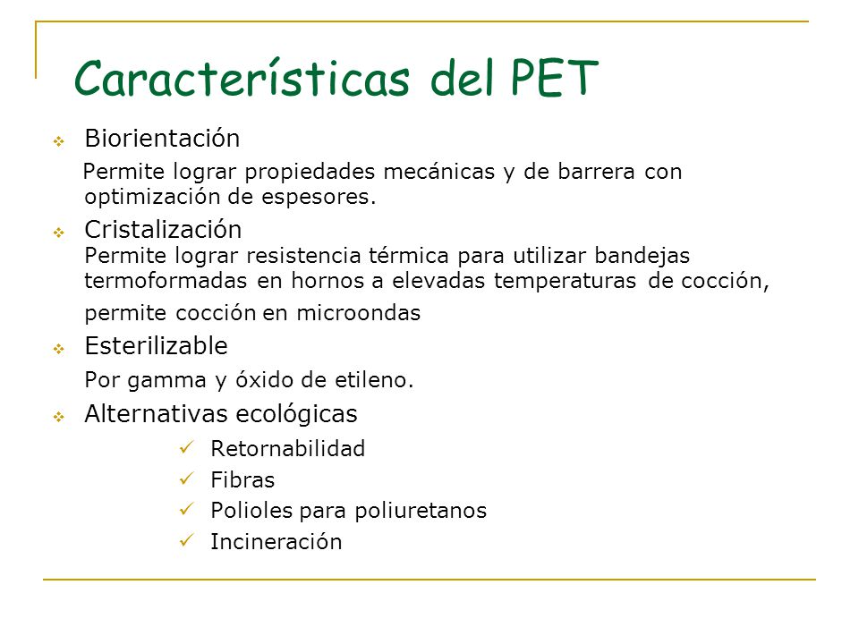 Características del PET