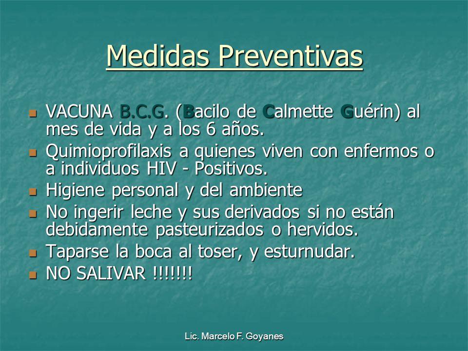 Medidas Preventivas VACUNA B.C.G. (Bacilo de Calmette Guérin) al mes de vida y a los 6 años.