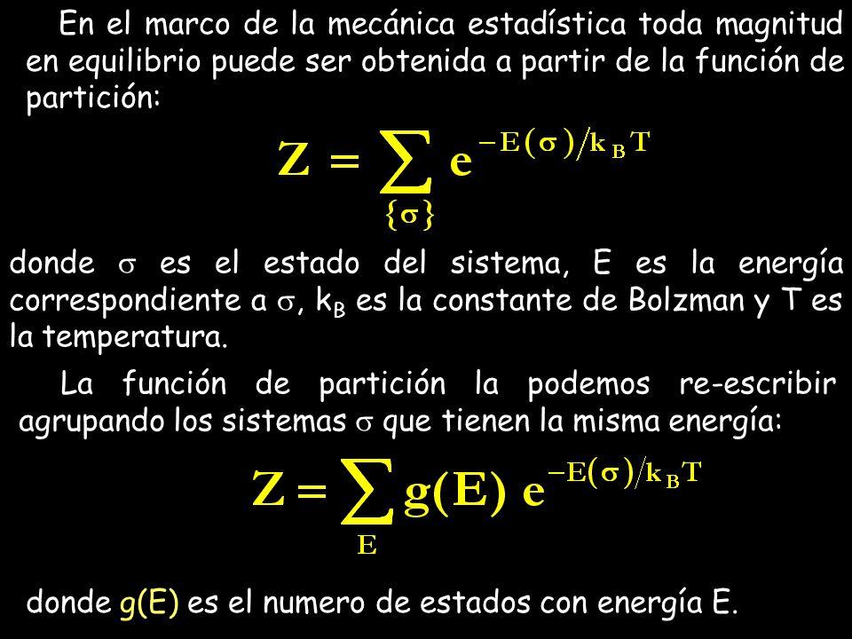 En el marco de la mecánica estadística toda magnitud en equilibrio puede ser obtenida a partir de la función de partición: