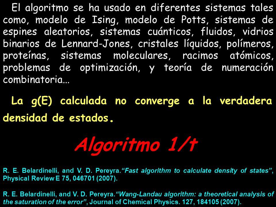 El algoritmo se ha usado en diferentes sistemas tales como, modelo de Ising, modelo de Potts, sistemas de espines aleatorios, sistemas cuánticos, fluidos, vidrios binarios de Lennard-Jones, cristales líquidos, polímeros, proteínas, sistemas moleculares, racimos atómicos, problemas de optimización, y teoría de numeración combinatoria...