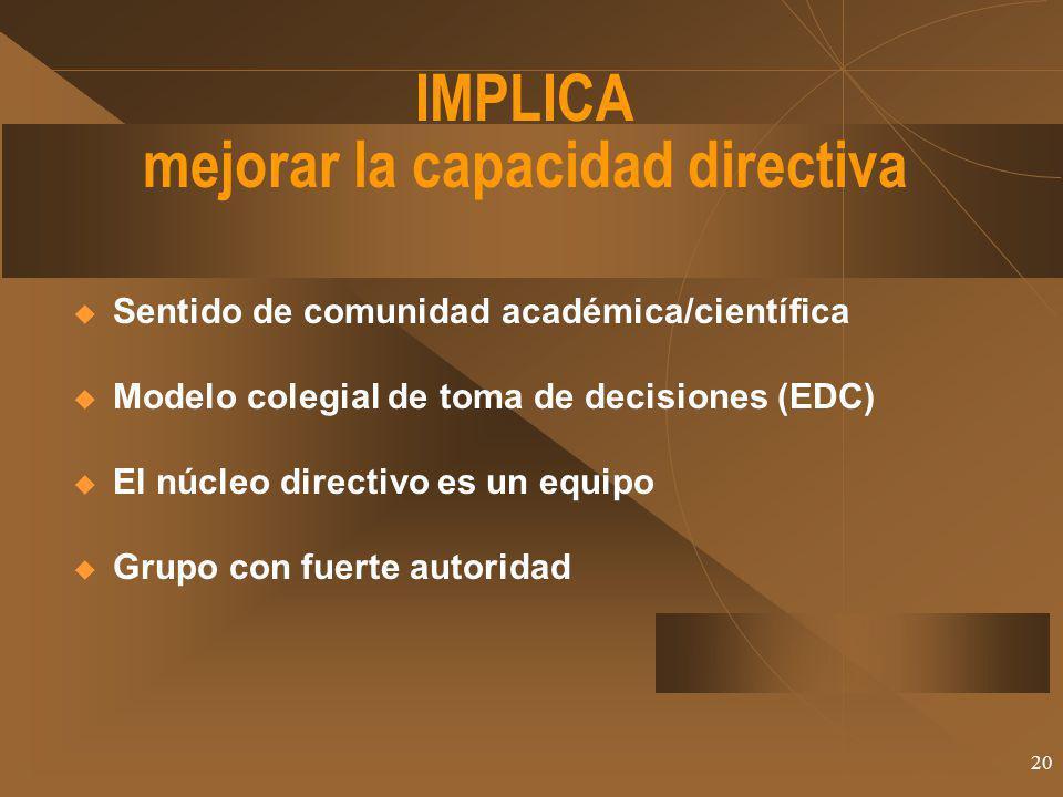 IMPLICA mejorar la capacidad directiva