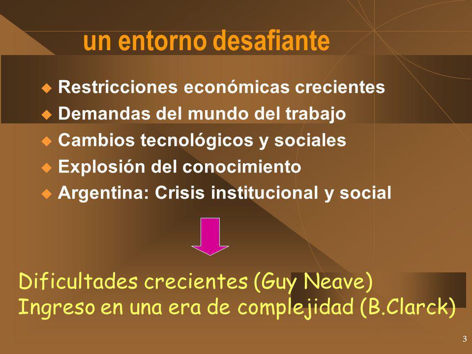 un entorno desafiante Dificultades crecientes (Guy Neave)