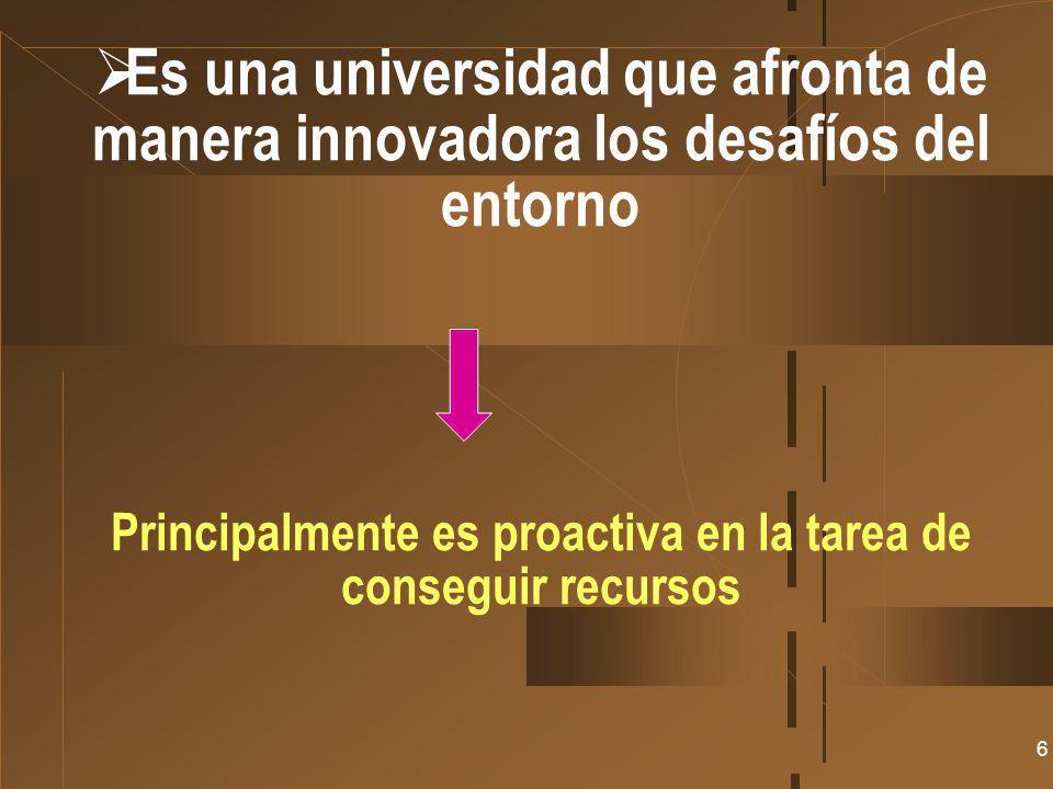 Es una universidad que afronta de manera innovadora los desafíos del entorno Principalmente es proactiva en la tarea de conseguir recursos