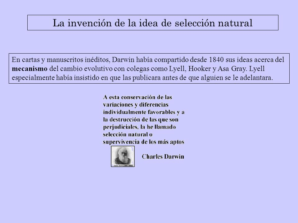La invención de la idea de selección natural