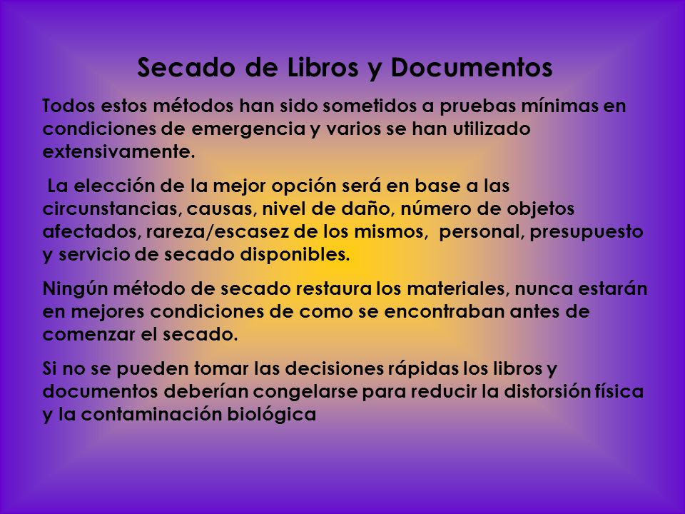 Secado de Libros y Documentos