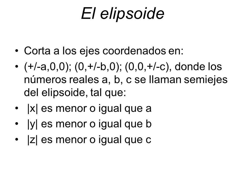 El elipsoide Corta a los ejes coordenados en: