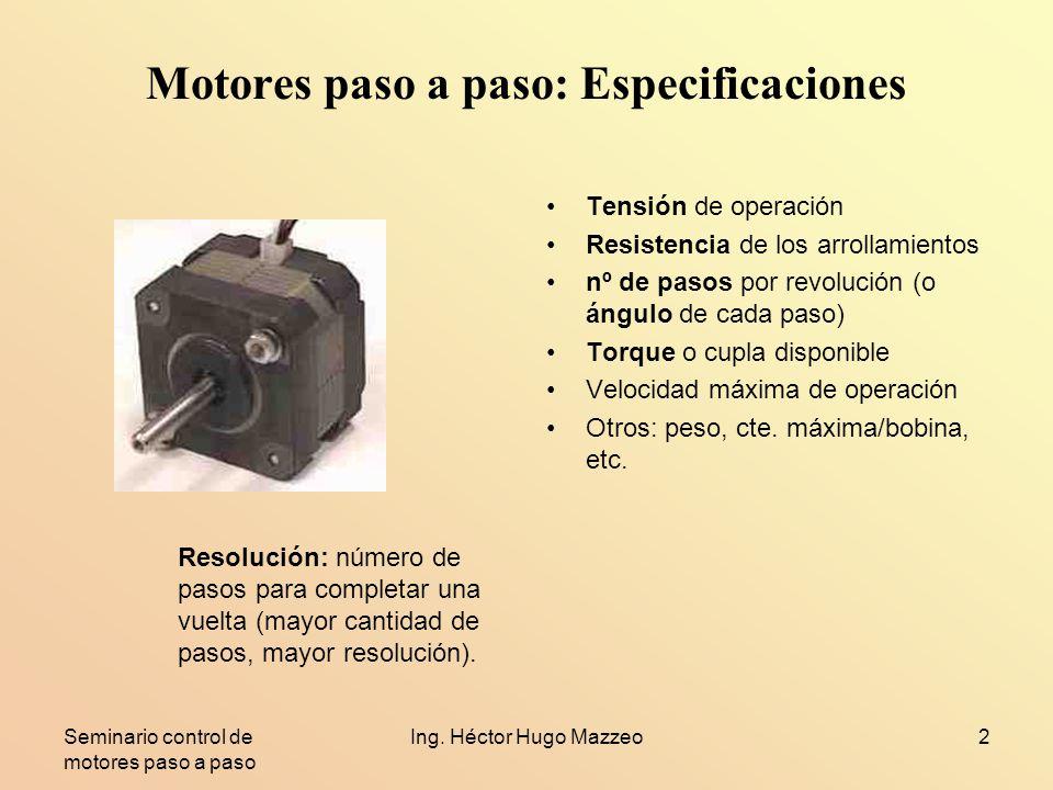 Motores paso a paso: Especificaciones