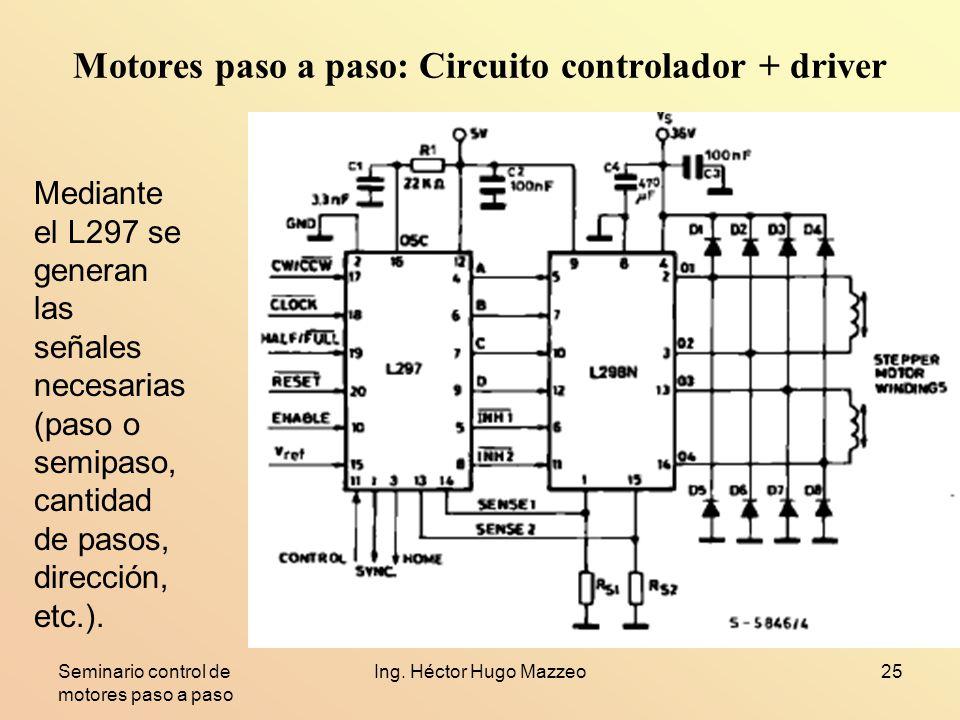 Motores paso a paso: Circuito controlador + driver