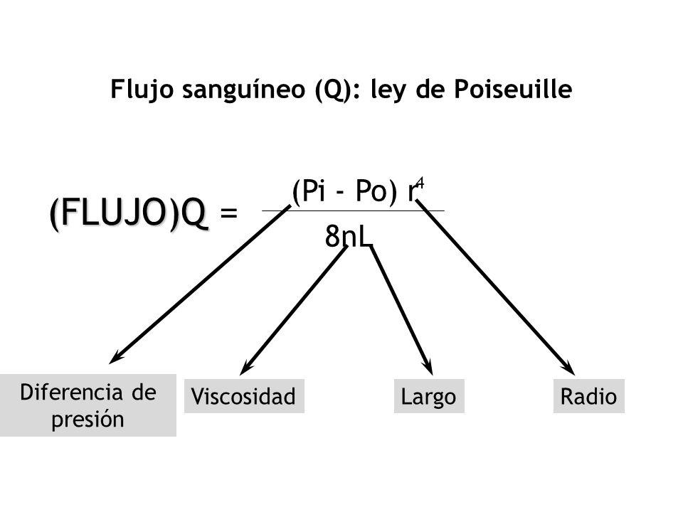Flujo sanguíneo (Q): ley de Poiseuille