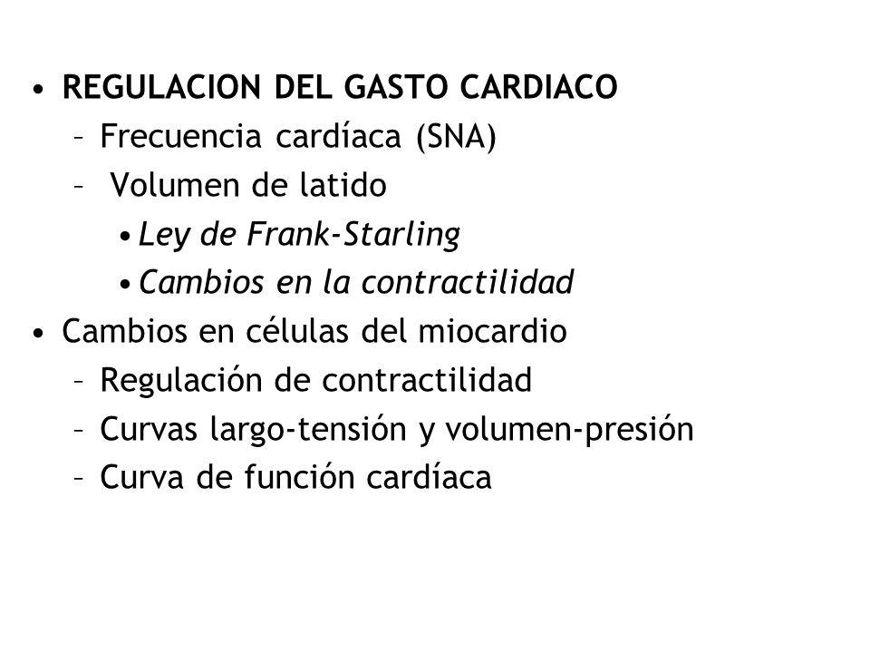 REGULACION DEL GASTO CARDIACO