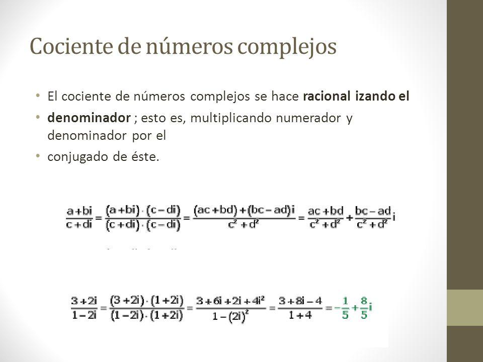 Cociente de números complejos