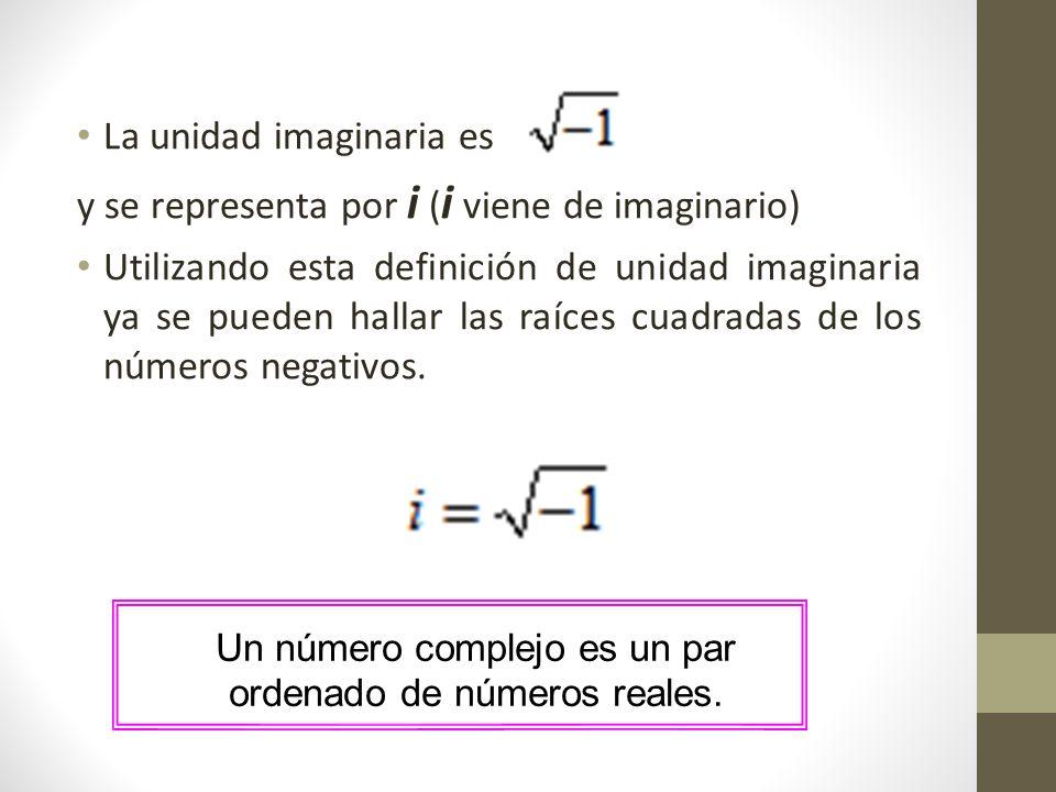 Un número complejo es un par ordenado de números reales.