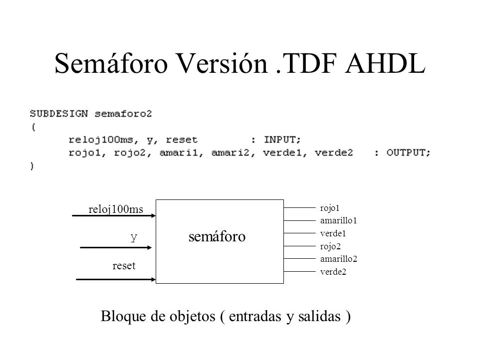 Semáforo Versión .TDF AHDL
