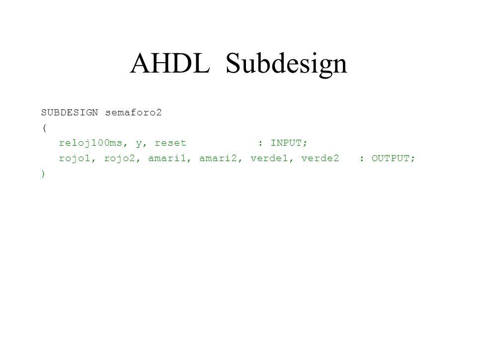 AHDL Subdesign SUBDESIGN semaforo2 ( reloj100ms, y, reset : INPUT;