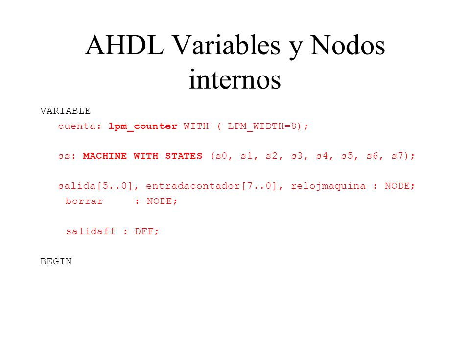 AHDL Variables y Nodos internos