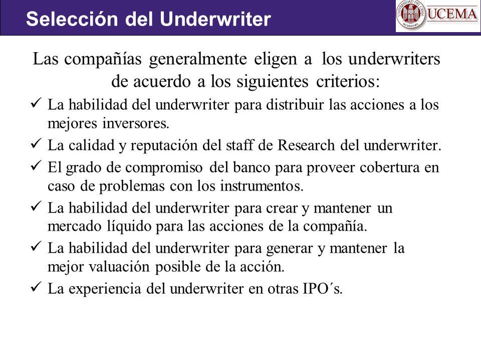Selección del Underwriter