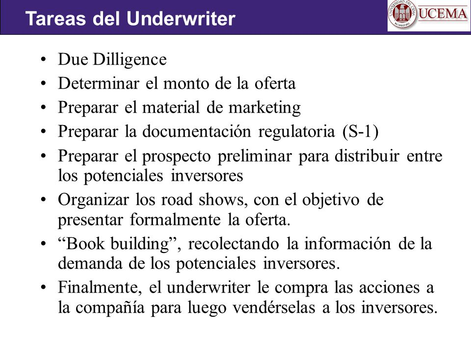 Tareas del Underwriter