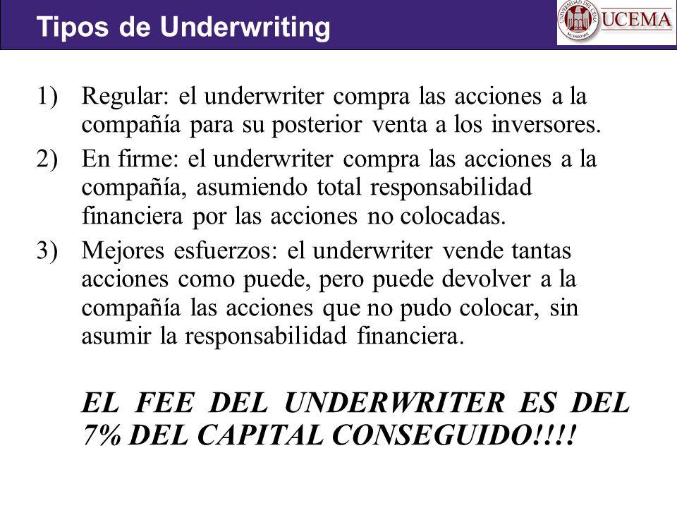 EL FEE DEL UNDERWRITER ES DEL 7% DEL CAPITAL CONSEGUIDO!!!!