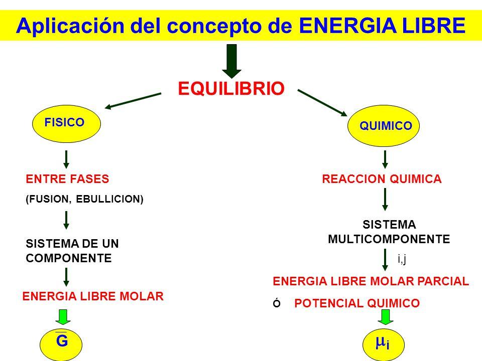 Aplicación del concepto de ENERGIA LIBRE SISTEMA MULTICOMPONENTE