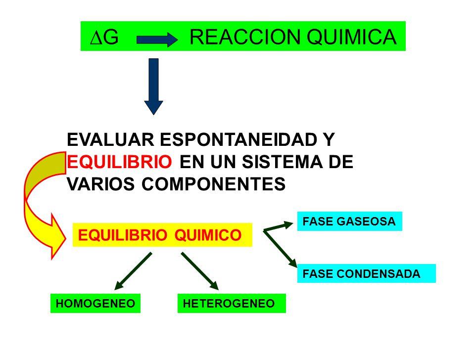 G REACCION QUIMICA EVALUAR ESPONTANEIDAD Y EQUILIBRIO EN UN SISTEMA DE VARIOS COMPONENTES.