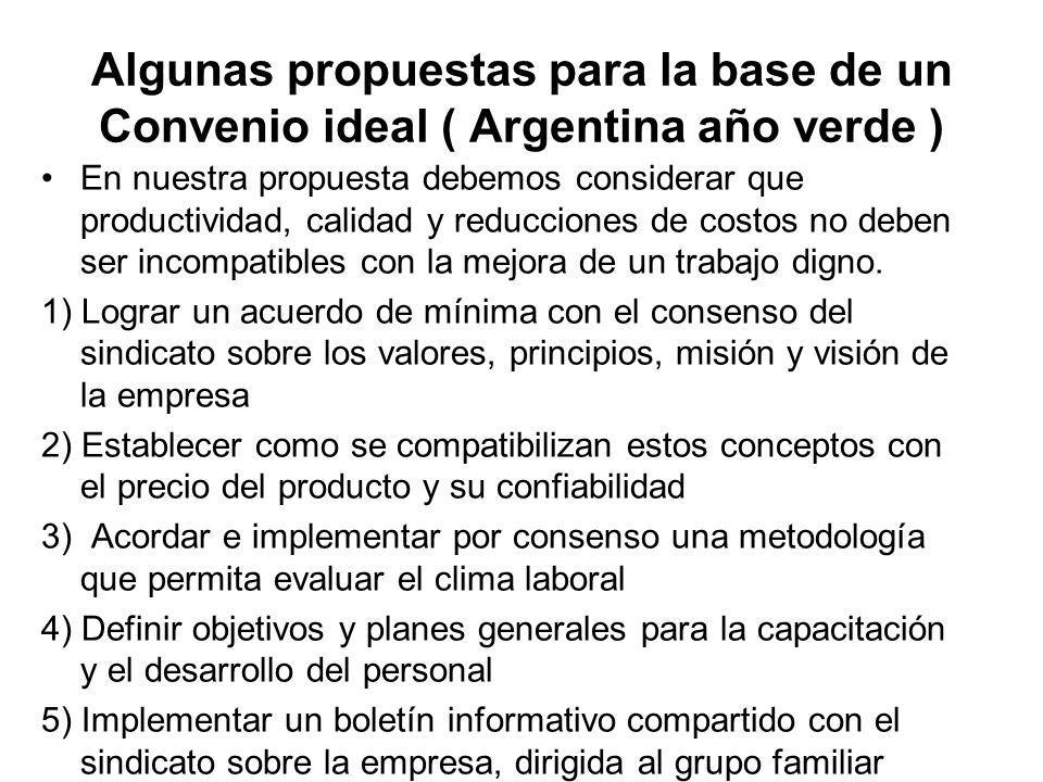 Algunas propuestas para la base de un Convenio ideal ( Argentina año verde )